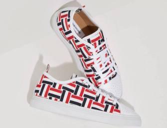 Thom Browne Tri-Color Grosgrain Basketweave Sneakers