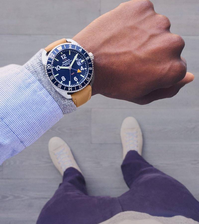 Shinola Rambler Dual Time Leather Strap Watch
