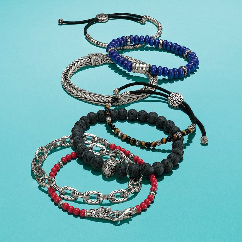 John Hardy Batu Naga Stabilized Coral Bead & Sterling Silver Chain Double Wrap Bracelet