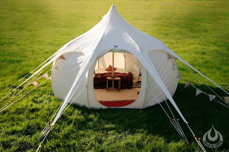 Lotus Belle 16Ft Outback Deluxe Tent with Burner Hole & Tents for Life: Lotus Belle Luxury Camping Tents | LifeStyle Fancy