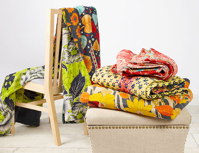 One-of-a-Kind Kantha Quilts & Pillows at MYHABIT