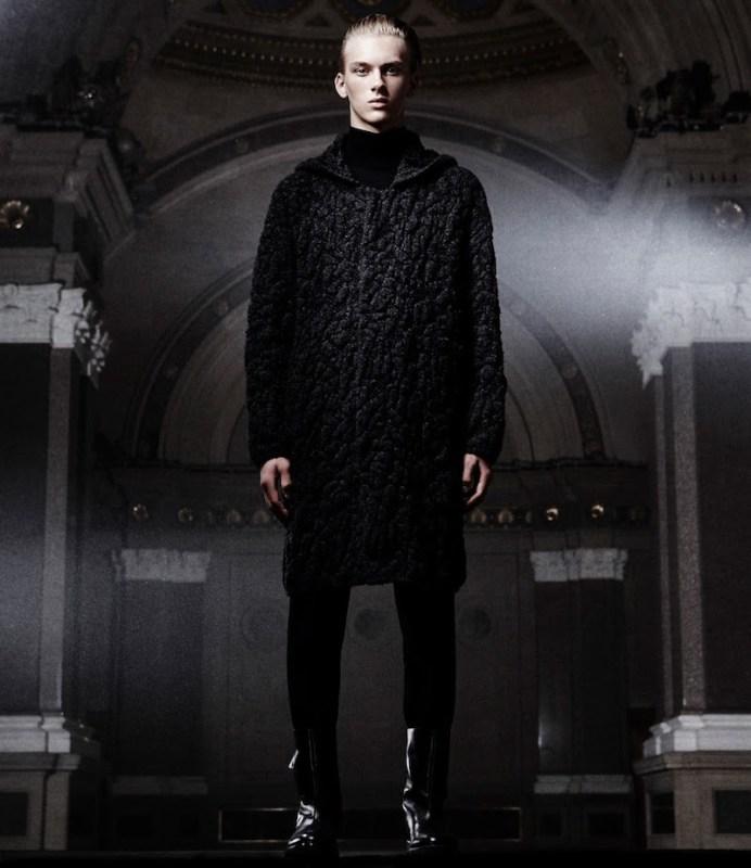 Balenciaga Jacquard Hooded Sweater Coat