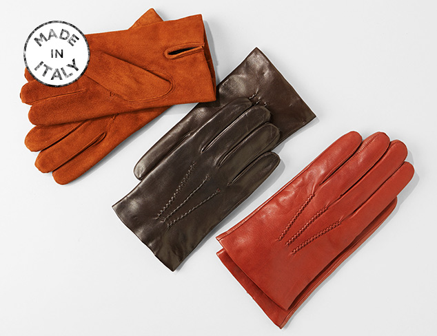 Made in Italy Franklin Tailored Leather Gloves at MYHABIT