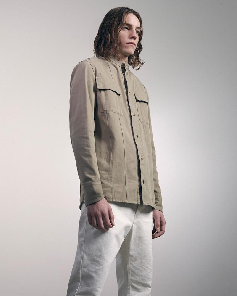 Balmain Badge-sleeve Collarless Shirt