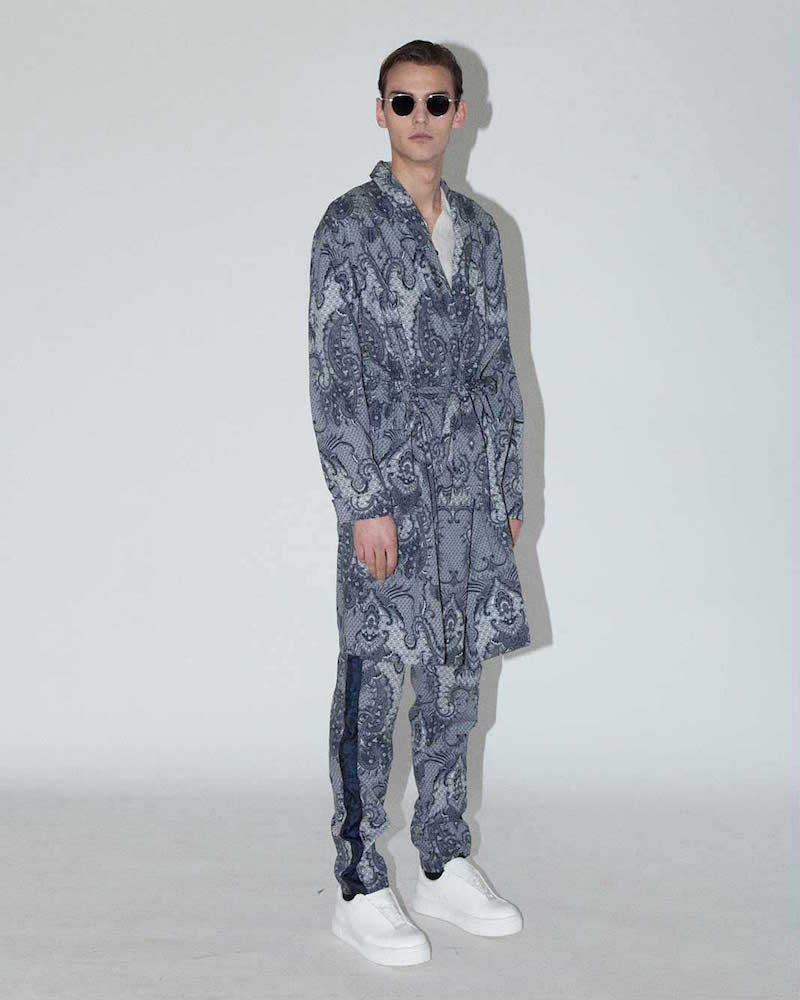 James Long Long Paisley Jacket in Blue and White