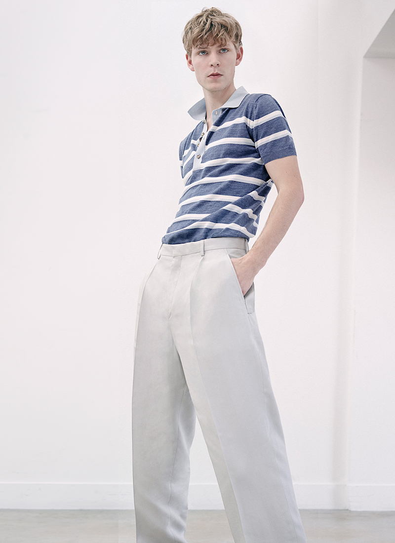Orley Striped Wool-knit Polo Shirt