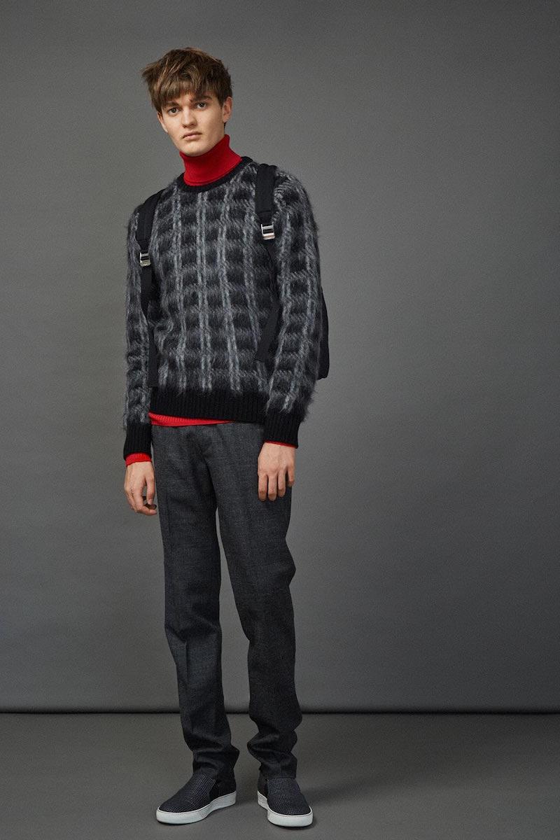 Saint Laurent Tartan Mohair Knit Sweater