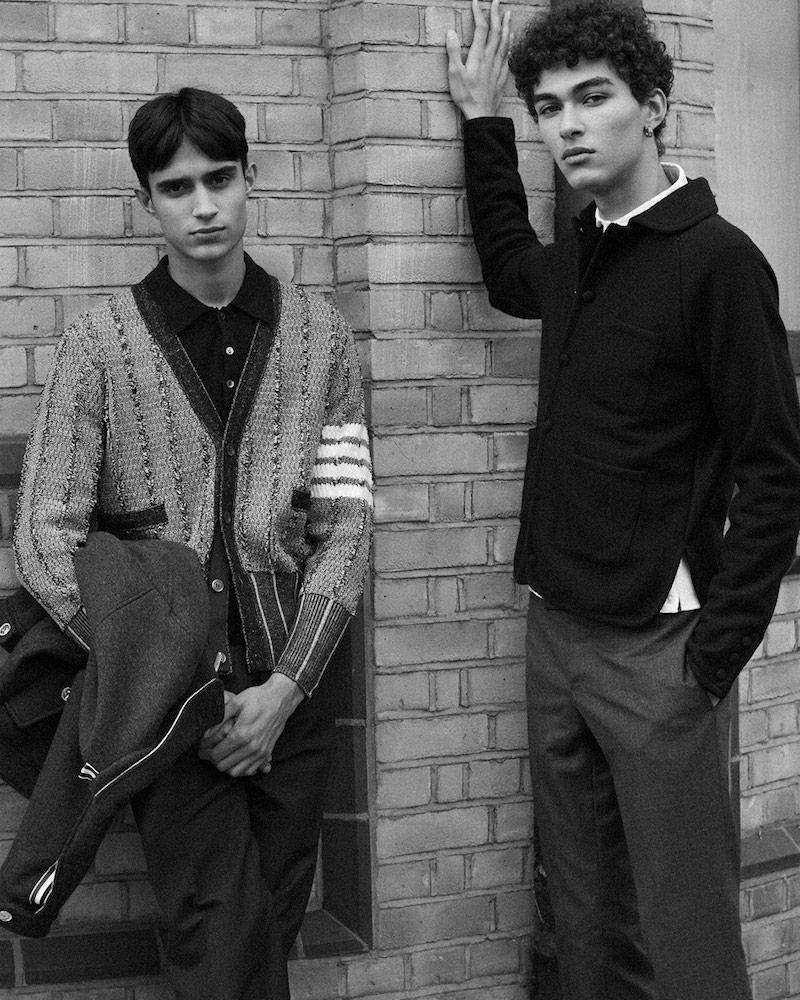 Thom Browne Oxford Waffled Knit Cardigan