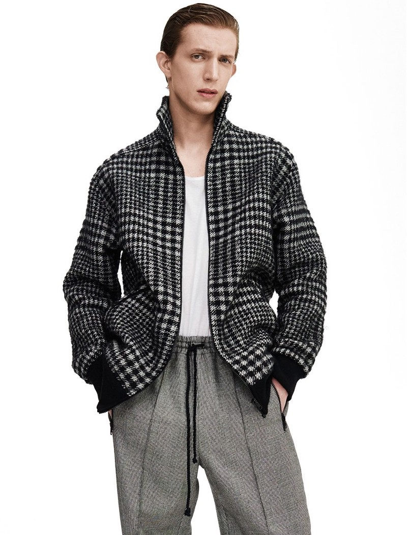 Raey 1970s Zip Through Hound's Tooth Checked Jacket