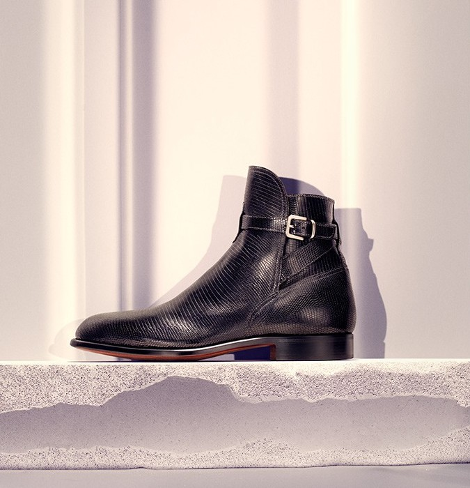 Armando Cabral Lizard Effect Leather Ankle Boots
