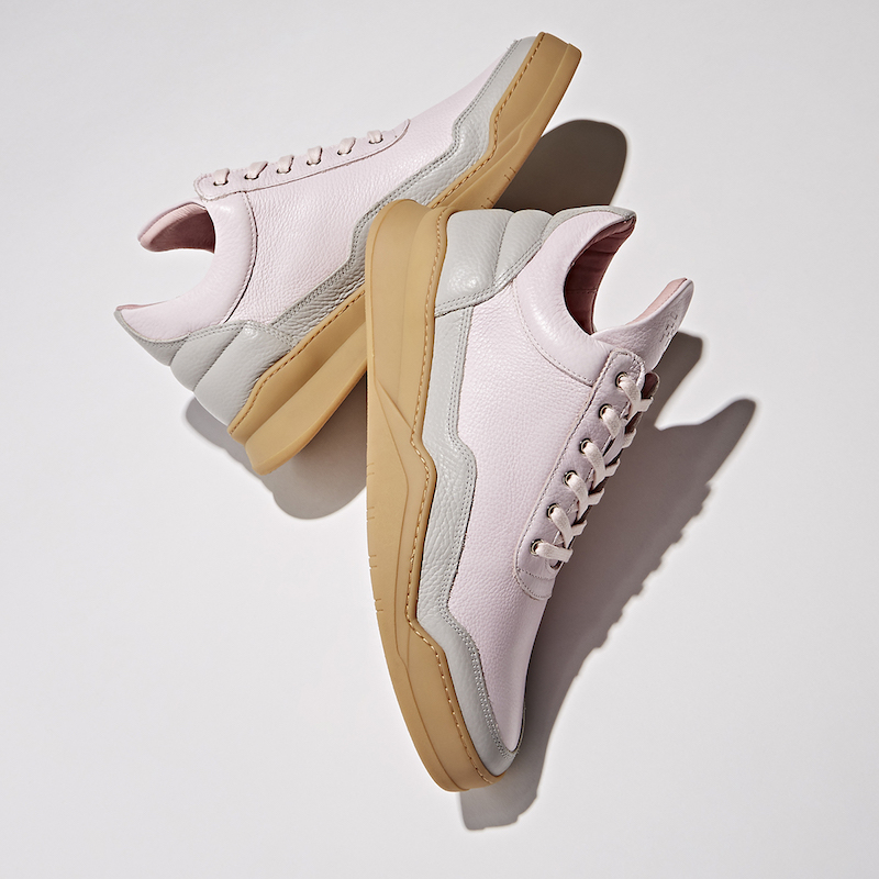 BNY Sole Series x Filling Pieces Pink Leather Mid-Top Sneakers