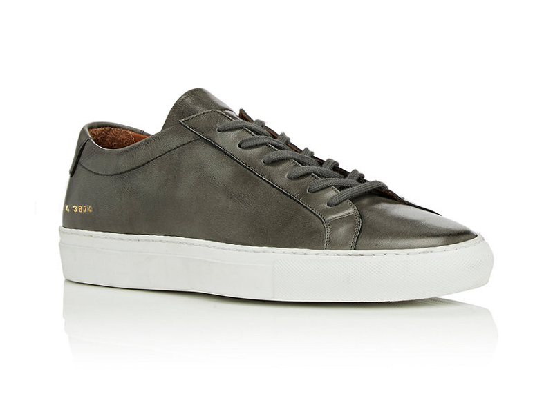 BNY Sole Series x Common Projects Grey Achilles Leather Low-Top Sneakers
