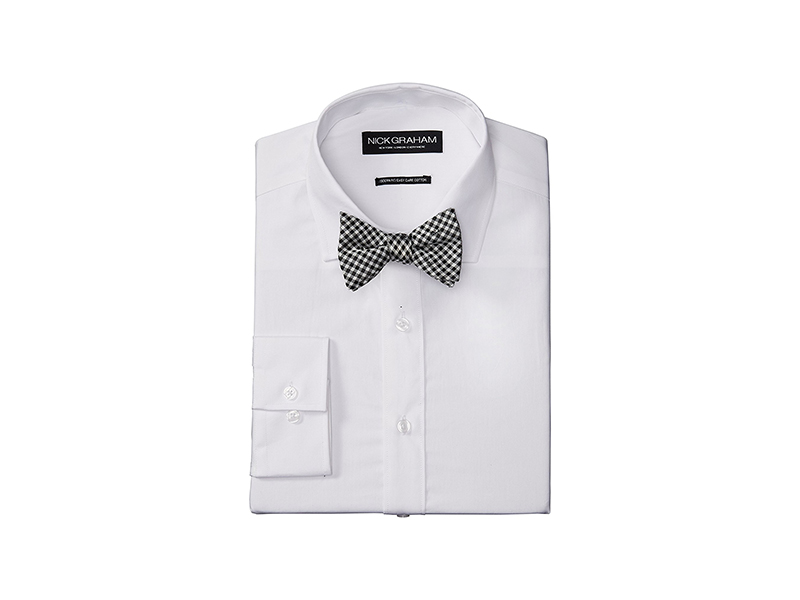 Nick Graham Solid Cotton Poplin Dress Shirt with Gingham Bow Tie