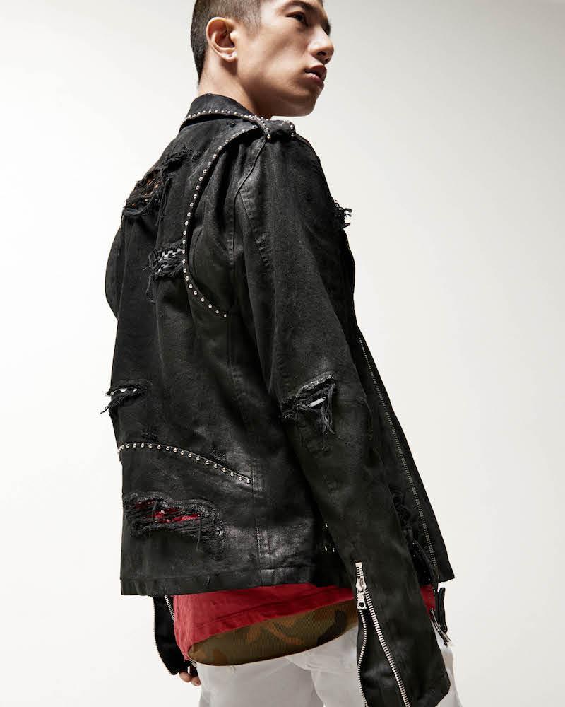 AMIRI Studded Distressed Denim Moto Jacket