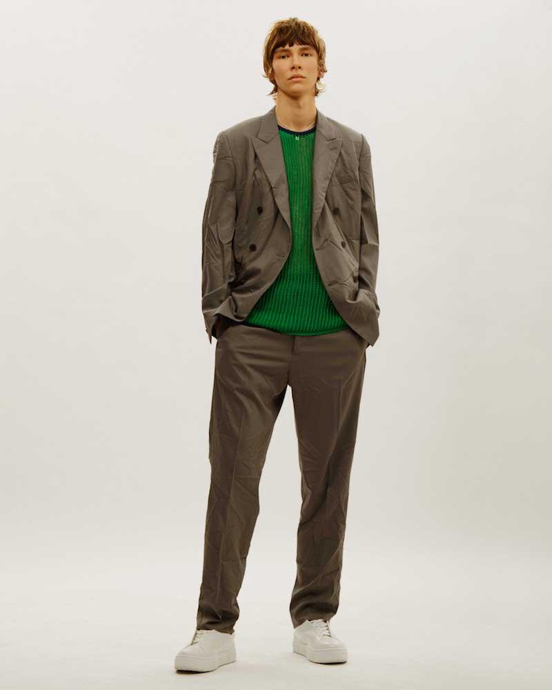 Valentino Creased Double-Breasted Blazer Jacket
