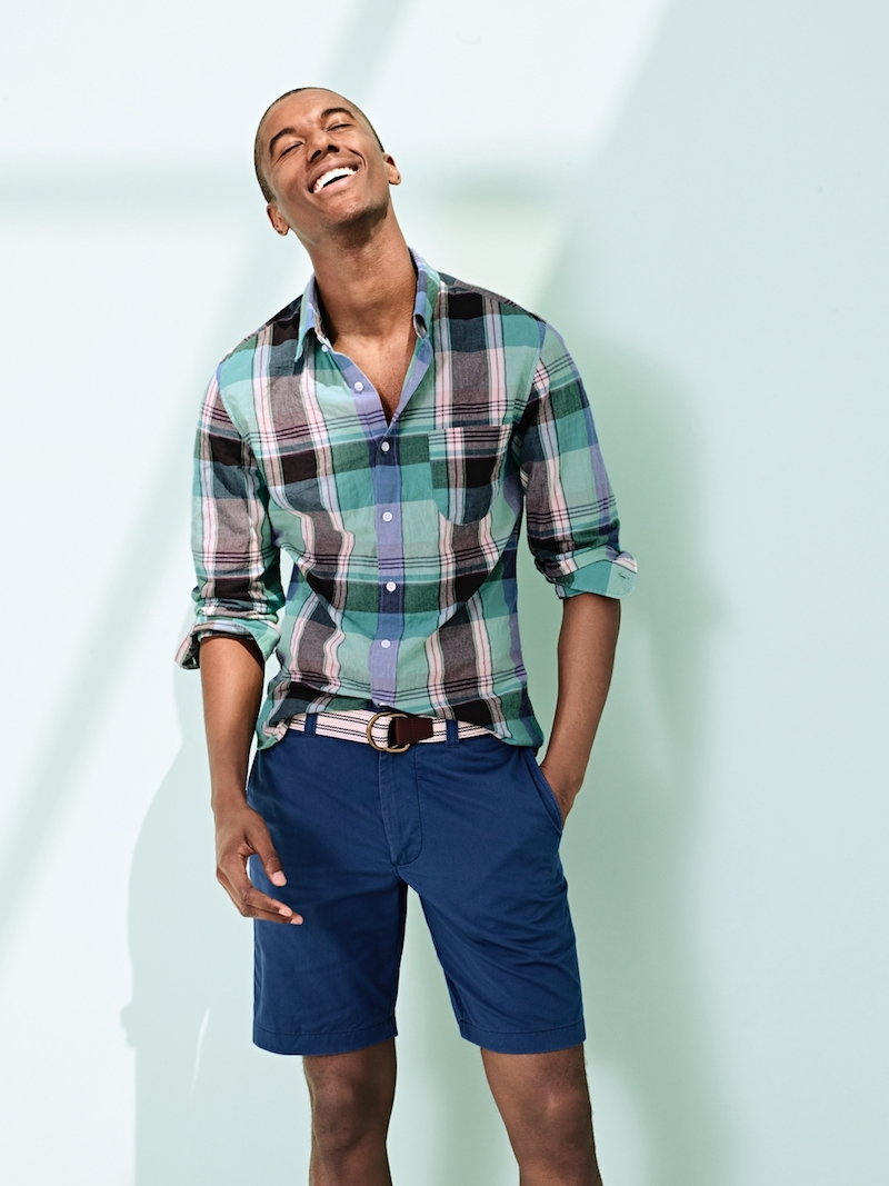 J.Crew Slim Indian Madras Shirt In Teal Surf