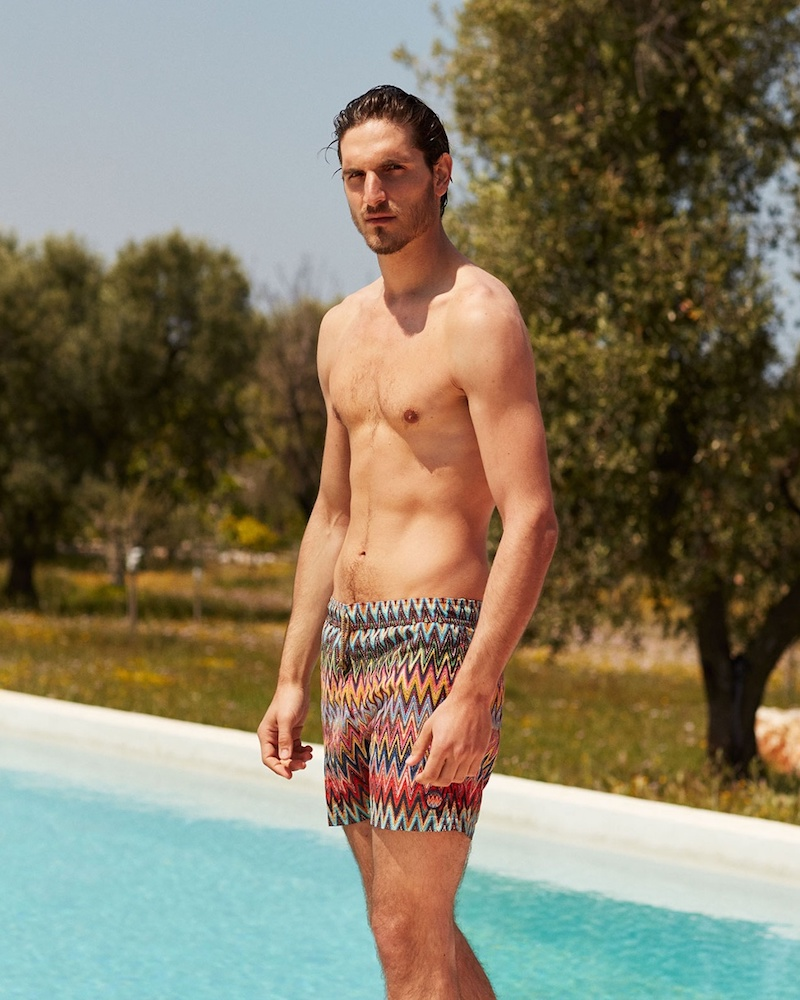 Missoni Chevron-Stripe Print Swim Shorts