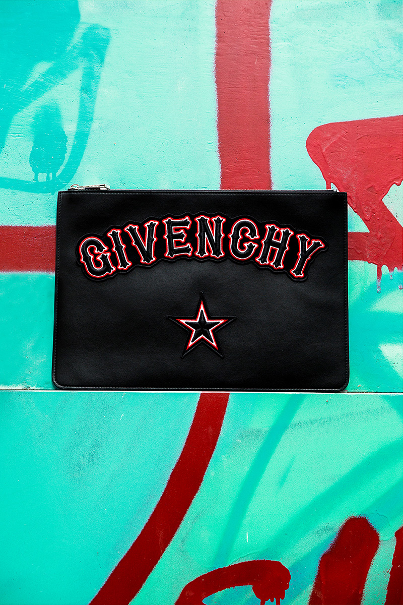 Givenchy Large Gothic Logo Patches Leather Pouch