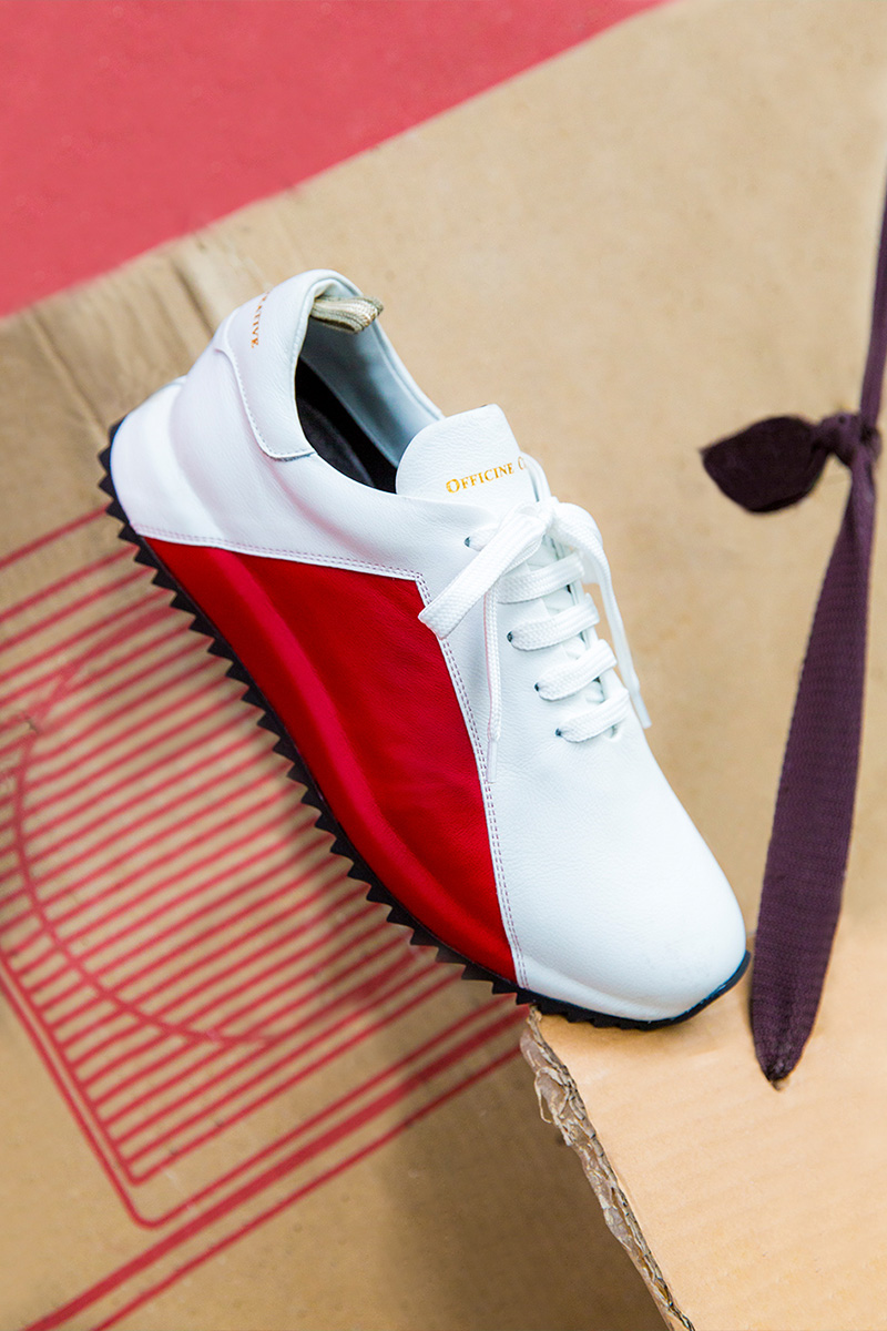 Officine Creative Bicolor Premium Leather Lace-Up Sneakers