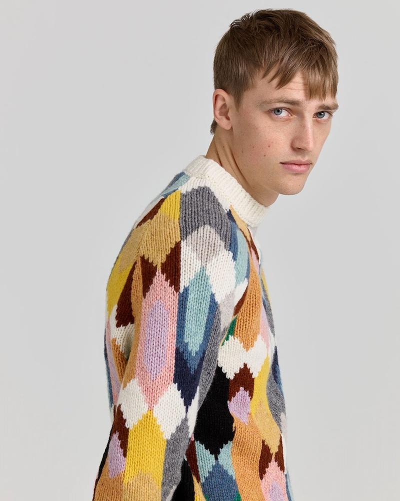 Prada Crew-Neck Geometric-Intarsia Sweater