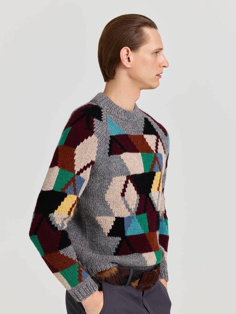 Prada Geometric-Intarsia Wool Sweater