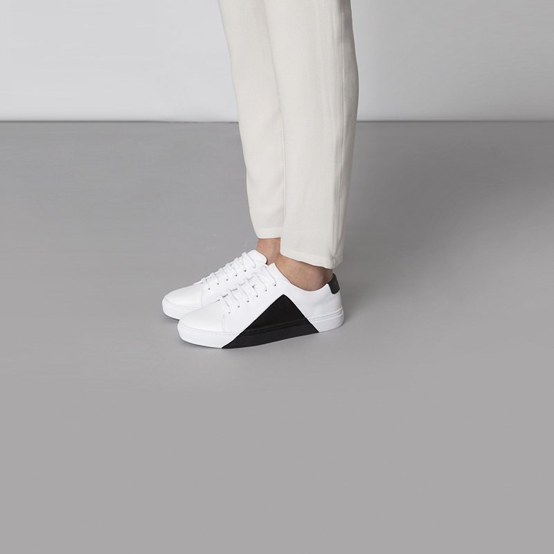 THEY New York Triangle Low Sneakers in White-Black