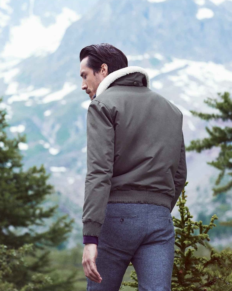 De Bonne Facture Shearling-Collar Cotton Bomber Jacket