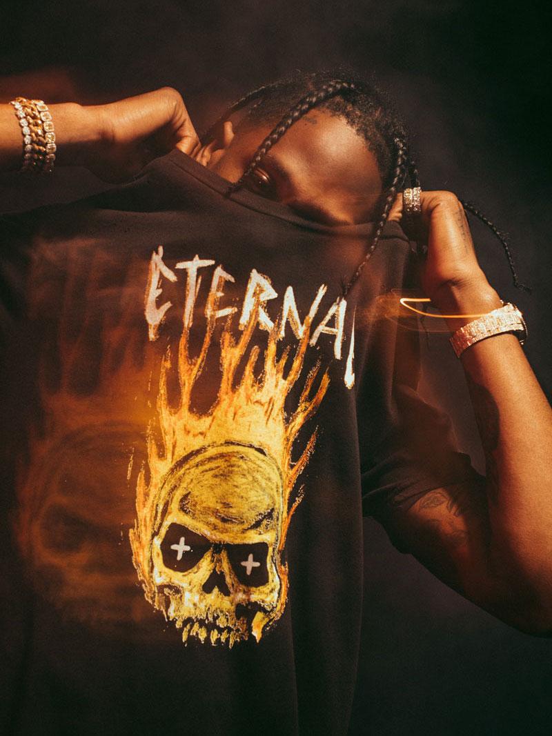 Ksubi x Travis Scott Hothead Distressed Cotton T-Shirt