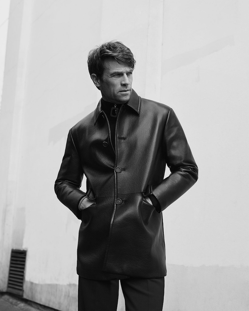 Prada Black Single-Breasted Leather Coat