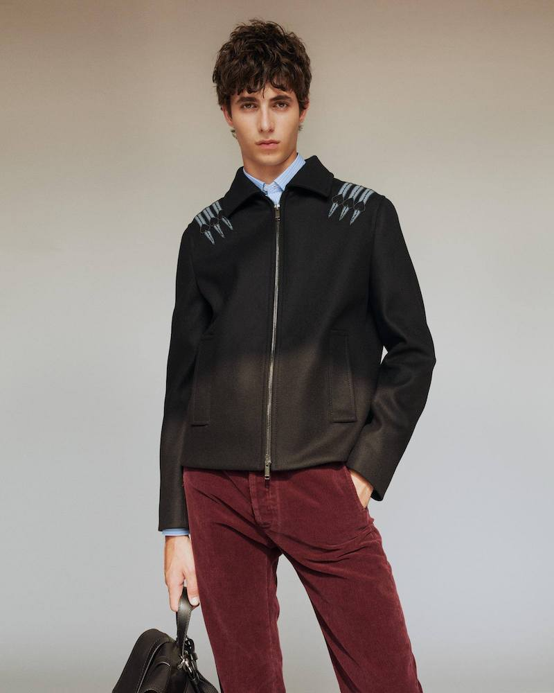 Valentino Loveblade-Appliqué Wool-Felt Jacket
