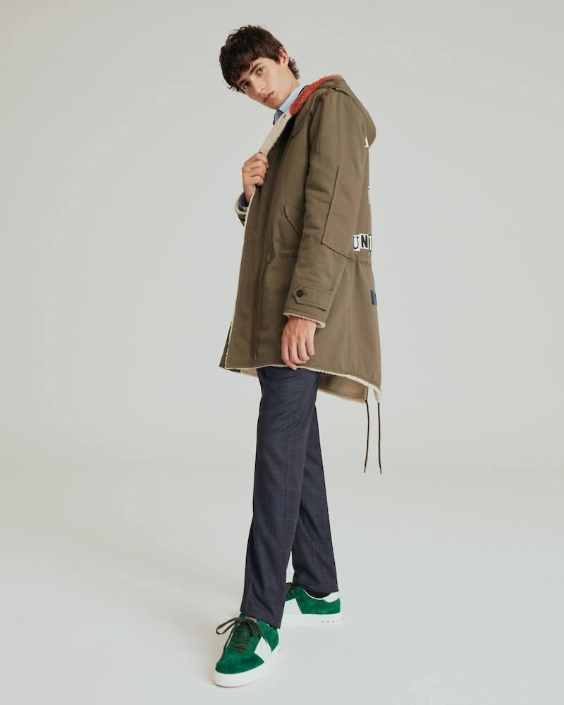 Valentino Motif-Appliqué Cotton-Gabardine Parka