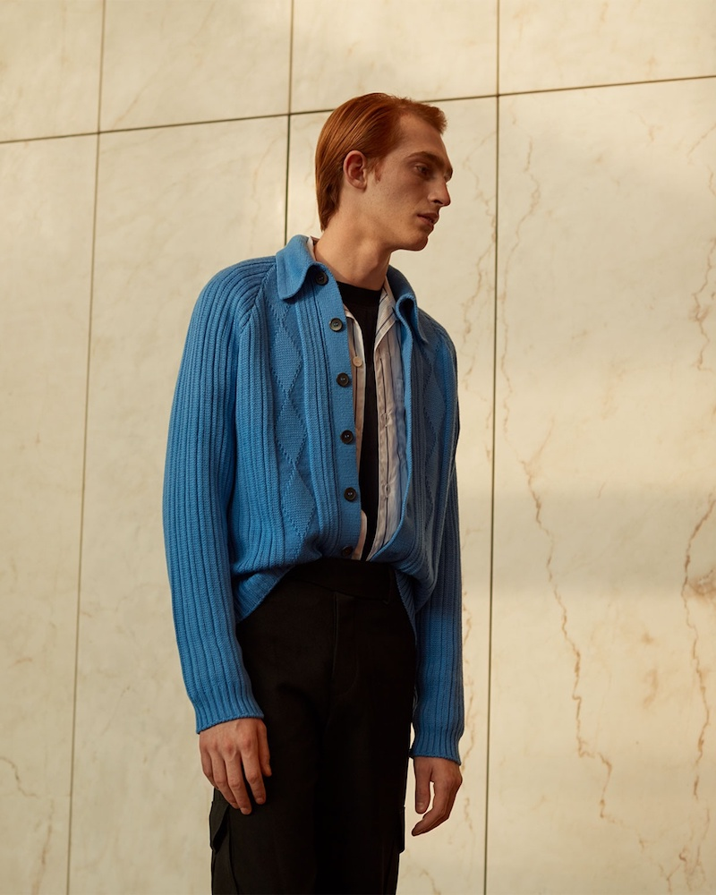 Prada Point-Collar Ribbed Wool Cardigan