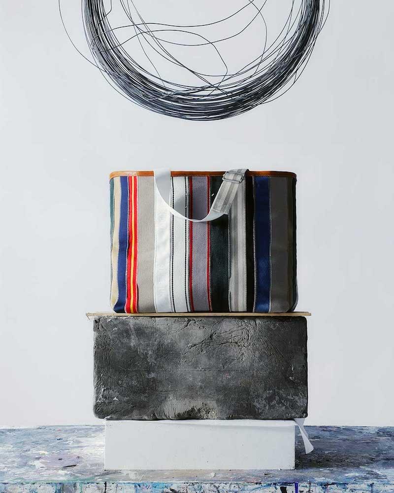 Maison Margiela Striped-Canvas Leather-Trim Tote Bag