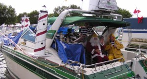 boat decorated for christmas with Santa