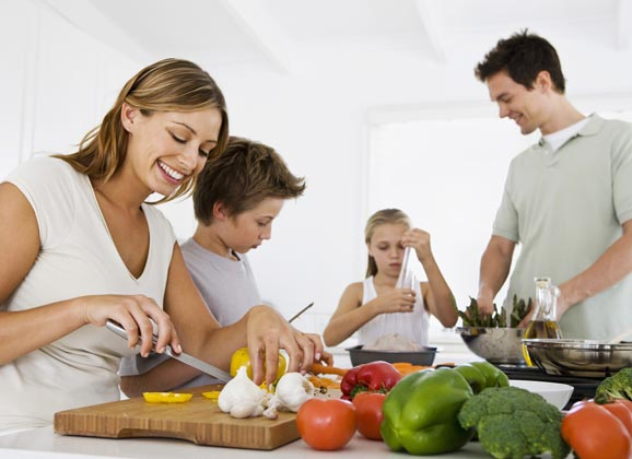 family making healthy meals