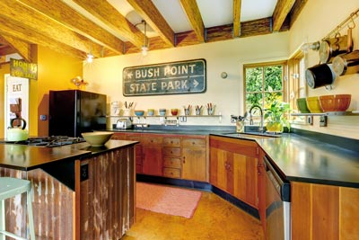 Kitchen using reclaimed wood
