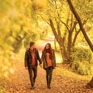 couple walking in fall