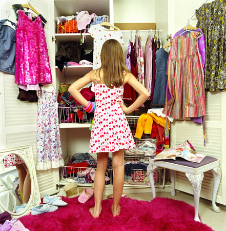 girl with messy closet