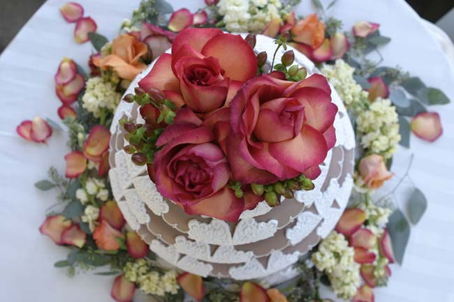 colourful floral weddng cake