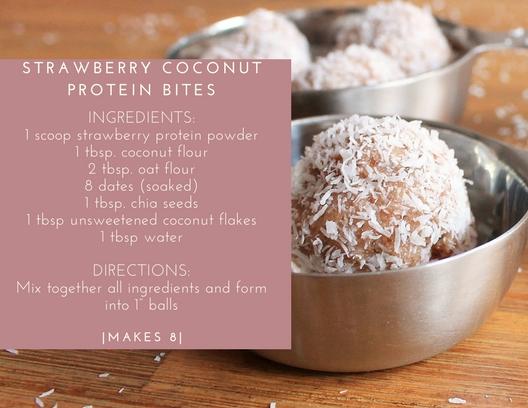 strawberry coconut protein bites
