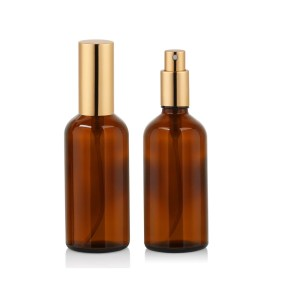 Gold Top Amber Spray Bottle