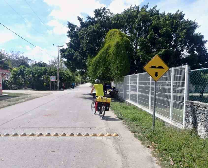 Bicycle touring Yucatán Mexico - the metal speedbumps