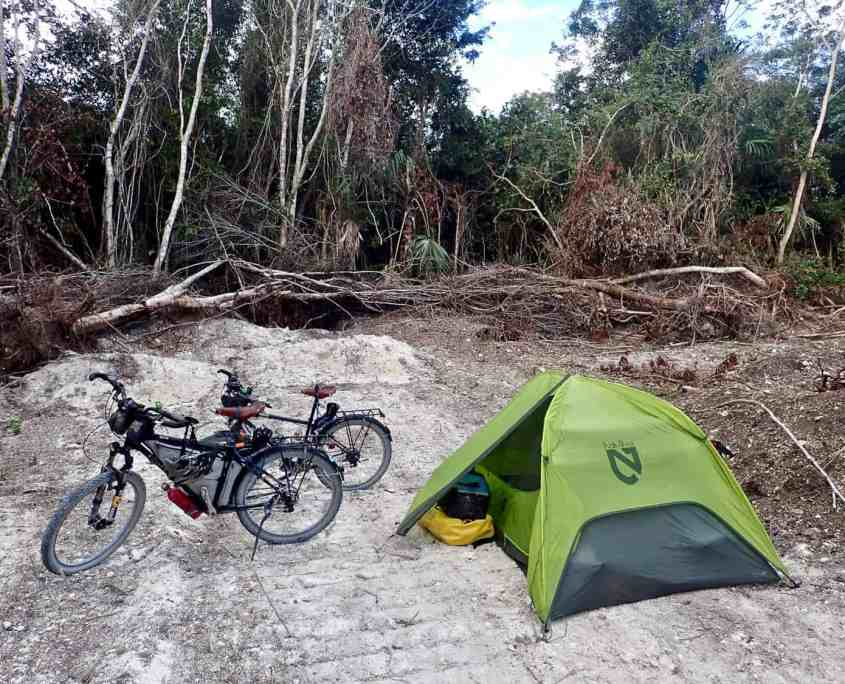 Bicycle touring through Belize - Our first campsite in Belize