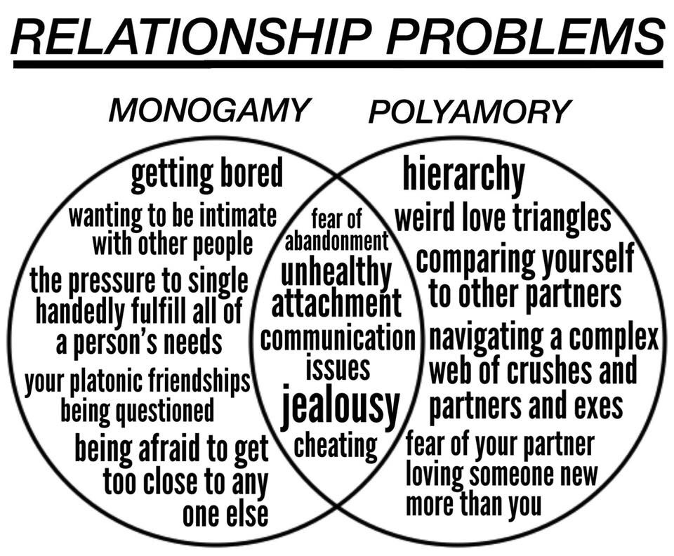 and polyamory this is not supposed to be indicative of how everyone views the differences its just an example albeit one with a list that seems to