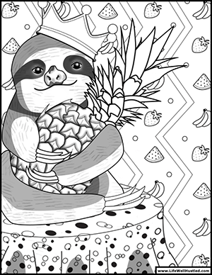 King Sloth Coloring Book Page