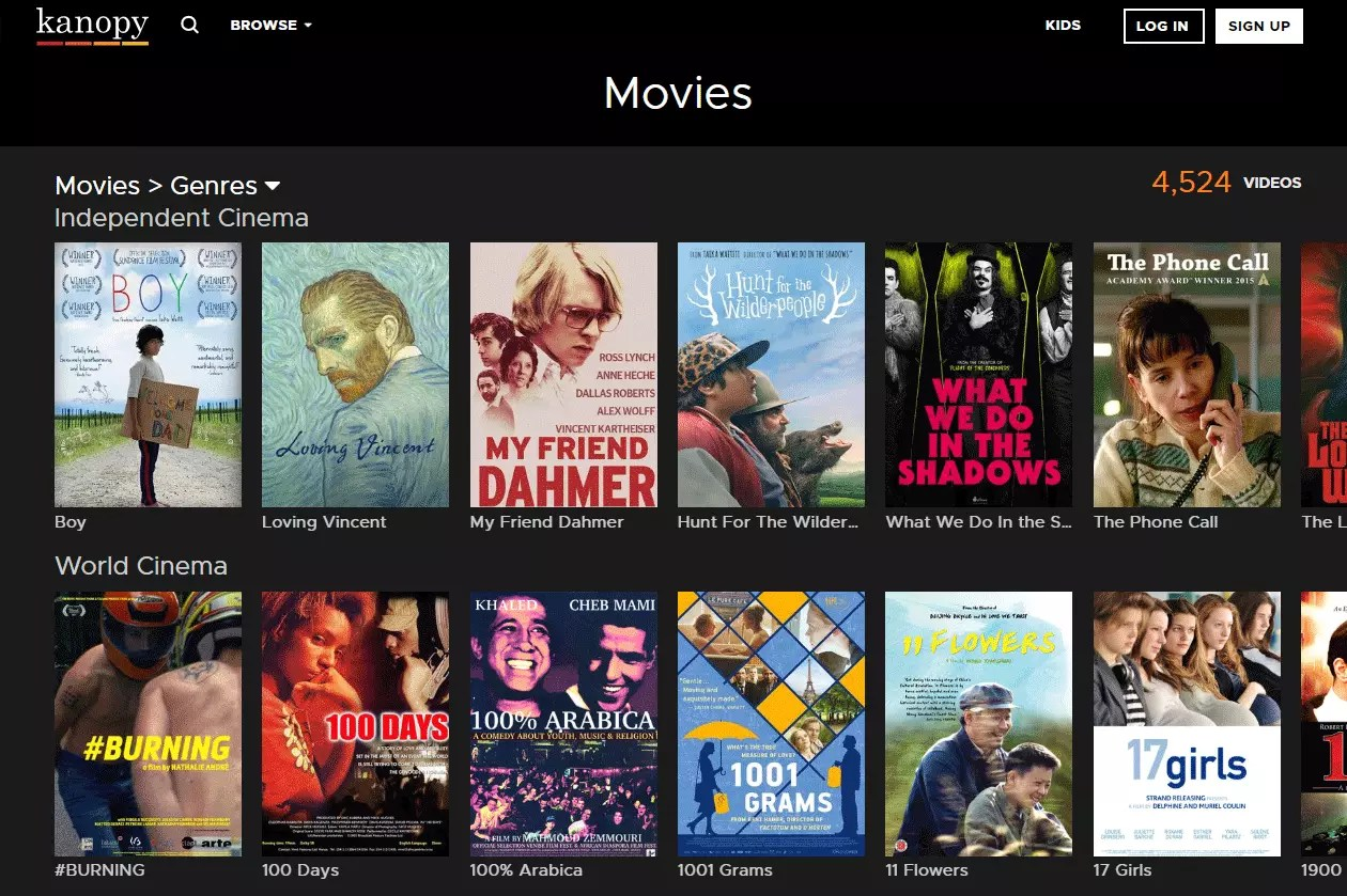 Kanopy free movies listing