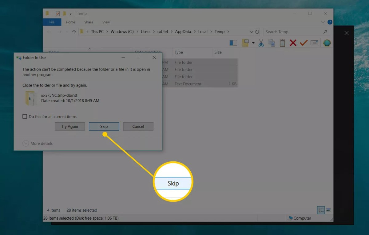 Screenshot showing the Skip button when deleting Temp files in Windows 10