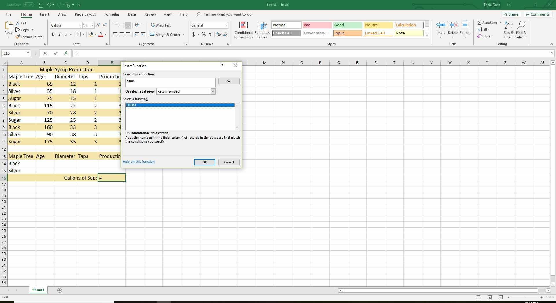 Excel Dsum Function Tutorial And Example