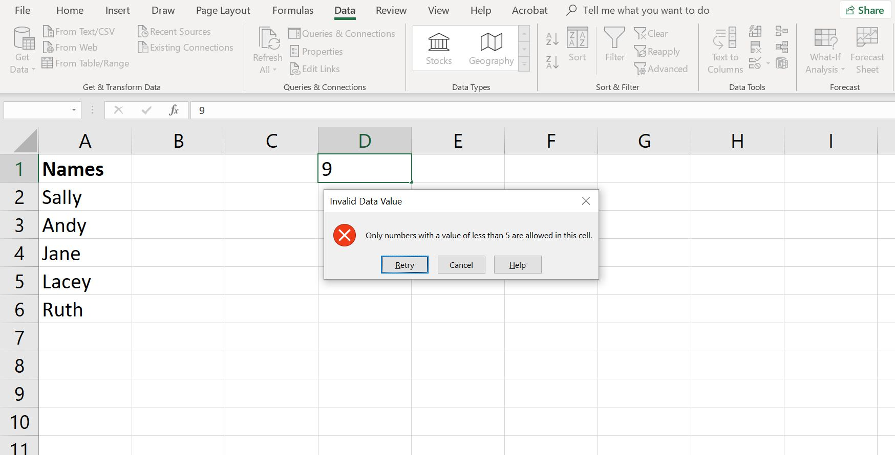 Using Data Validation To Prevent Invalid Data Entry In Excel