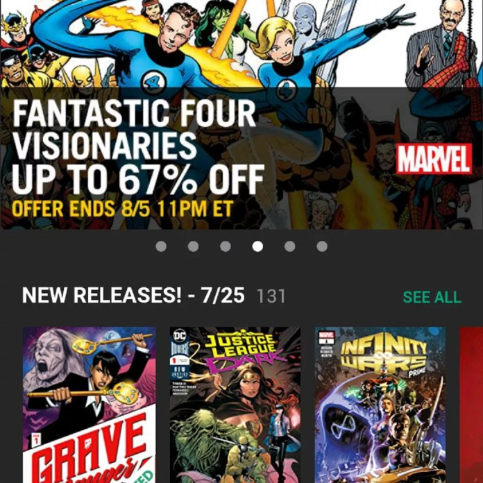 the main screen for Comixology's Comics app